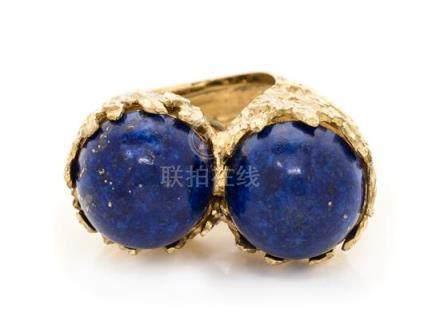 An 18 Karat Yellow Gold and Lapis Lazuli Twin Ring,