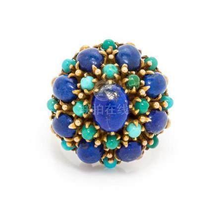 A 14 Karat Yellow Gold, Lapis Lazuli and Turquoise
