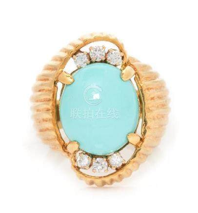 A 14 Karat Yellow Gold, Turquoise and Diamond Ring,