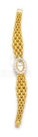 An 18 Karat Yellow Gold and Diamond Wristwatch,
