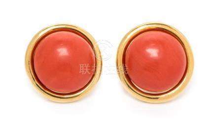 A Pair of 18 Karat Yellow Gold and Coral Earclips,