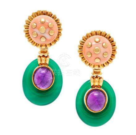 A Pair of 18 Karat Yellow Gold, Coral, Amethyst and