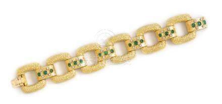 An 18 Karat Yellow Gold, Emerald and Diamond Bracelet,