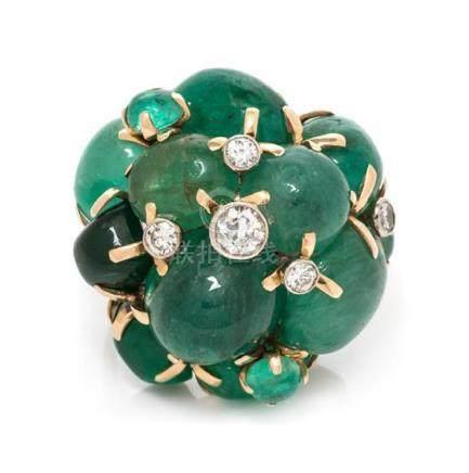 A 14 Karat Bicolor Gold, Emerald and Diamond Bombe
