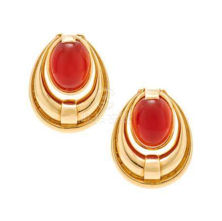 A Pair of 18 Karat Yellow Gold and Carnelian Earclips,