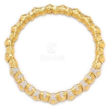 An 18 Karat Yellow Gold, Platinum and Diamond Necklace,