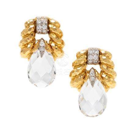 A Pair of 18 Karat Yellow Gold, Platinum, Rock Crystal