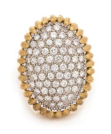 An 18 Karat Bicolor Gold and Diamond Ring, Italian,