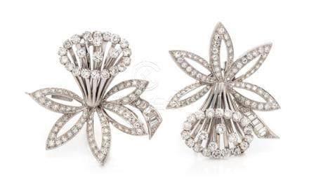 A Pair of Platinum and Diamond Daffodil Motif