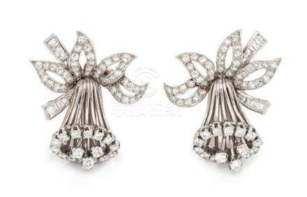 A Pair of Platinum and Diamond Daffodil Motif Earclips,
