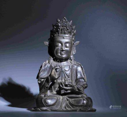 ANCIENT IRON-CASTED BUDDHA STATUE