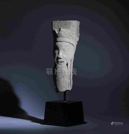 MING DYNASTY CARVED STONE FIGURE HEAD