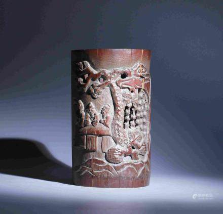 BAMBOO PEN HOLDER WITH EMBOSSED SCHOLAR FIGURES