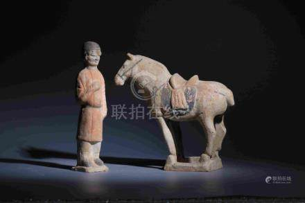 MALE TERRACOTTA AND HORSE (TWO PIECES)