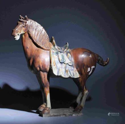 TRIPLE-COLORED HORSE SCULPTURE