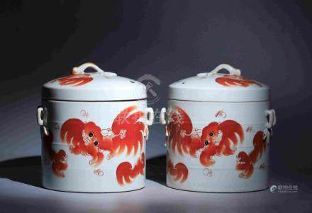 THE REPUBLIC OF CHINA ERA PORCELAIN PAIRED POTS WITH