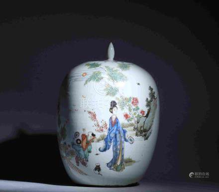 FIVE-COLOR FIGURE AND STORY THEMED PORCELAIN POT WITH