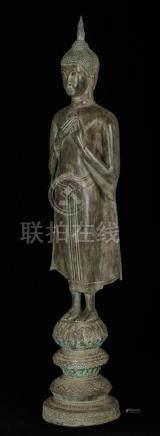 19th Century Thai Standing Ayutthaya Thoughtful Buddha