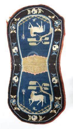 Chinese saddle rug of blue ground having auspicious symbols of two horses within a black banded