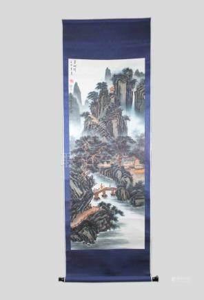 Rollbild, China, 20. Jh., Berglandschaft mit Reisenden, Aquarell auf Papier, o. l. bezeichnet,
