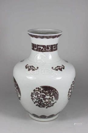 Bauchige Vase, Doppelring und Sechszeichenmarke am Boden, hellbeiger Scherben mit brauner