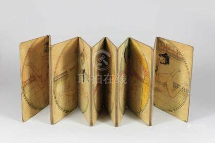 Leporello, China, mit fünf erotischen Darstellungen, Seitenmaß: 18, 3 x 12 cm.