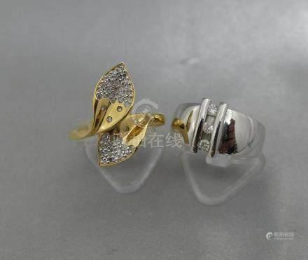Deux bagues en or jaune ou en or gris 750 millièmes, ornées de diamants.Poid