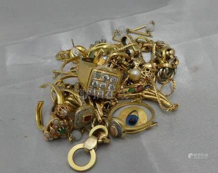 [RP]  Un lot de bris d'or 750 millièmes, certains sont sertis de brillants, de
