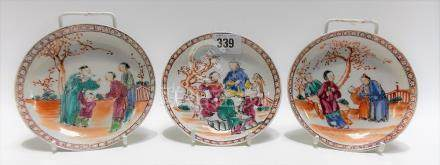 Three 18th Century Chinese porcelain mandarin palette saucer dishes, each painted with four