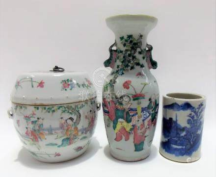 19th Century Chinese famille rose barrel shaped jar and cover, the lid with iron handle, decorated