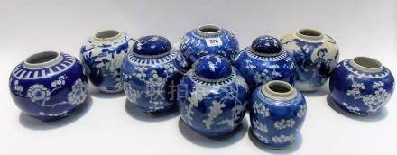 Nine various Chinese blue and white ginger jars, three with covers