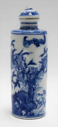 Chinese blue and white porcelain snuff bottle decorated with bats amongst fruiting peach trees, four