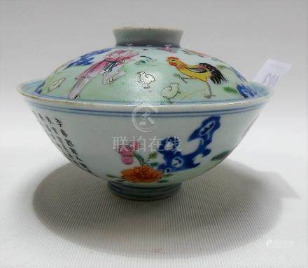 Qianlong period Chinese porcelain lidded bowl, depicting a figure feeding a chicken and chicks,