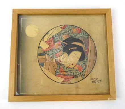 Keisai Eisen (Japanese, 1791-1848), a study of a reclining geisha, Ukiyo-e coloured woodblock,