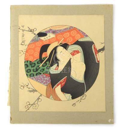 Utagawa Toyohiro (Japanese, 1774-1830), a study of a reclining geisha, Ukiyo-e coloured woodblock,