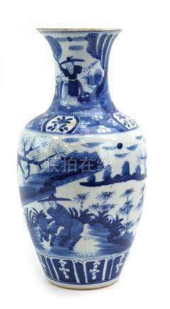 A Chinese blue and white vase of baluster form decorated with a farmer riding a buffalo,
