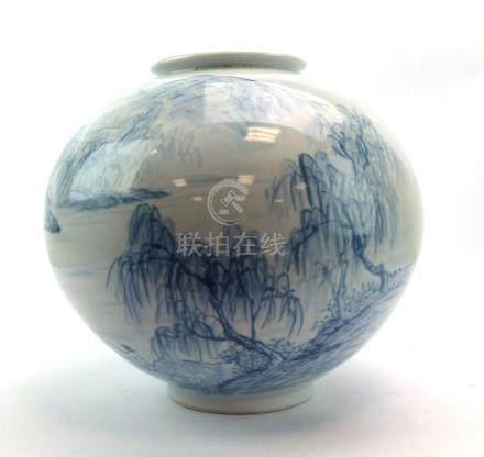 A large Korean blue and white vase of globular form,