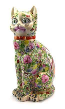 A Cantonese figure modelled as a seated cat,
