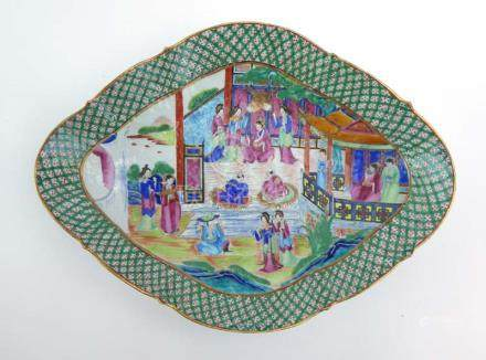 A 19th century Cantonese dish of oval form,