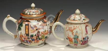 TWO CHINESE EXPORT PORCELAIN FAMILLE ROSE TEAPOTS AND COVERS, C1770 with early silver or silvered