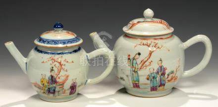 TWO CHINESE EXPORT PORCELAIN FAMILLE ROSE TEAPOTS AND COVERS, C1770 enamelled with groups of