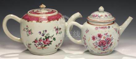 TWO CHINESE EXPORT PORCELAIN FAMILLE ROSE TEAPOTS AND COVERS, C1770-90 the larger with puce scale