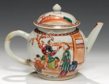 A CHINESE EXPORT PORCELAIN FAMILLE ROSE TEAPOT AND COVER, C1770 enamelled with a 'mandarin' pattern,