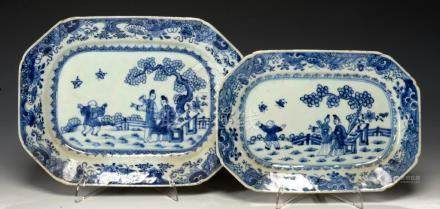 A GRADUATED PAIR OF CHINESE EXPORT PORCELAIN BLUE AND WHITE 'JUMPING BOY' DISHES, C1760-70 27 and