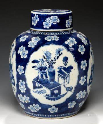 A CHINESE BLUE AND WHITE JAR AND COVER, QING DYNASTY, 19TH C the jar painted with four panels of