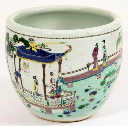 A CHINESE FAMILLE ROSE FISH BOWL, QING DYNASTY, 19TH C the exterior painted with continuous scenes