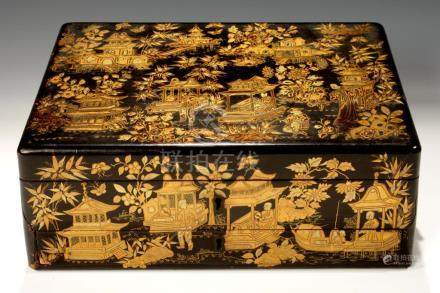 A CHINESE BLACK AND GOLD EXPORT LACQUER BOX, EARLY 19TH C decorated on all four sides and fitted