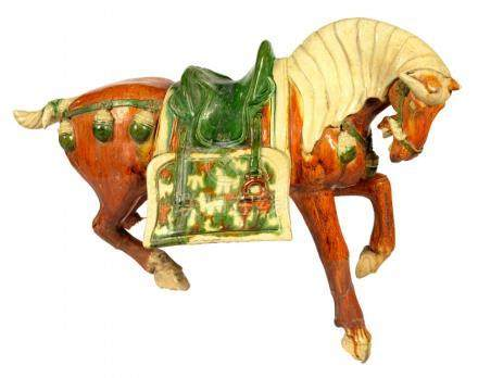 A CHINESE SANCAI GLAZED POTTERY MODEL OF A HORSE, TANG DYNASTY STYLE 43cm h++Legs broken and