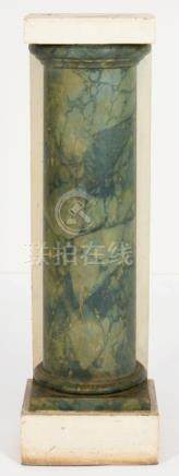 A GREEN AND WHITE PAINTED FAUX MARBLE PILASTER, 20TH C on rectangular plinth, 110cm h; 27 x 31cm++