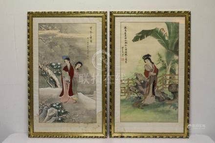 2 Chinese framed wc and embroidery panels
